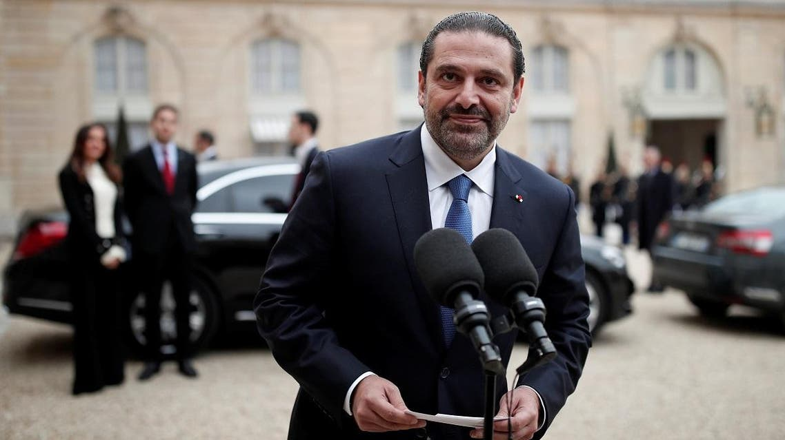 Saad Hariri, who announced his resignation as Lebanon's Prime Minister, talks to journalists after a meeting with the French President at the Elysee Palace in Paris. (Reuters)