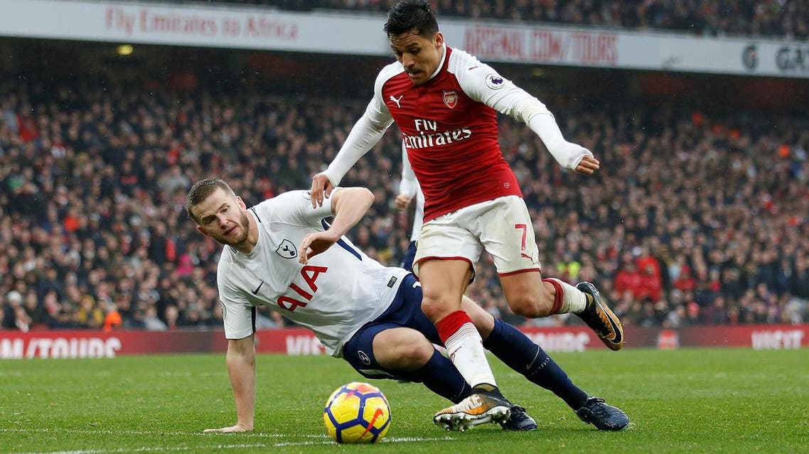 Tottenham's Eric Dier in action with Arsenal's Alexis Sanchez at  Emirates Stadium, London  during their Premier League match on November 18, 2017 . (Reuters)