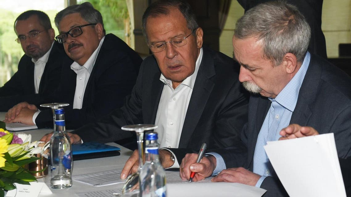 Russian foreigner minister Sergei Lavrov attends a meeting in Antalya on November 19, 2017 as top diplomats from Iran, Russia and Turkey met to discuss the civil war in Syria ahead of a three-way summit in the Russian city of Sochi on November 22. (AFP)