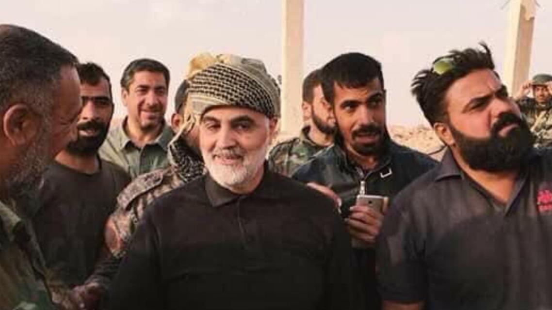 سليماني مع ميليشيات النجباء العراقية في مدينة البوكمال السورية