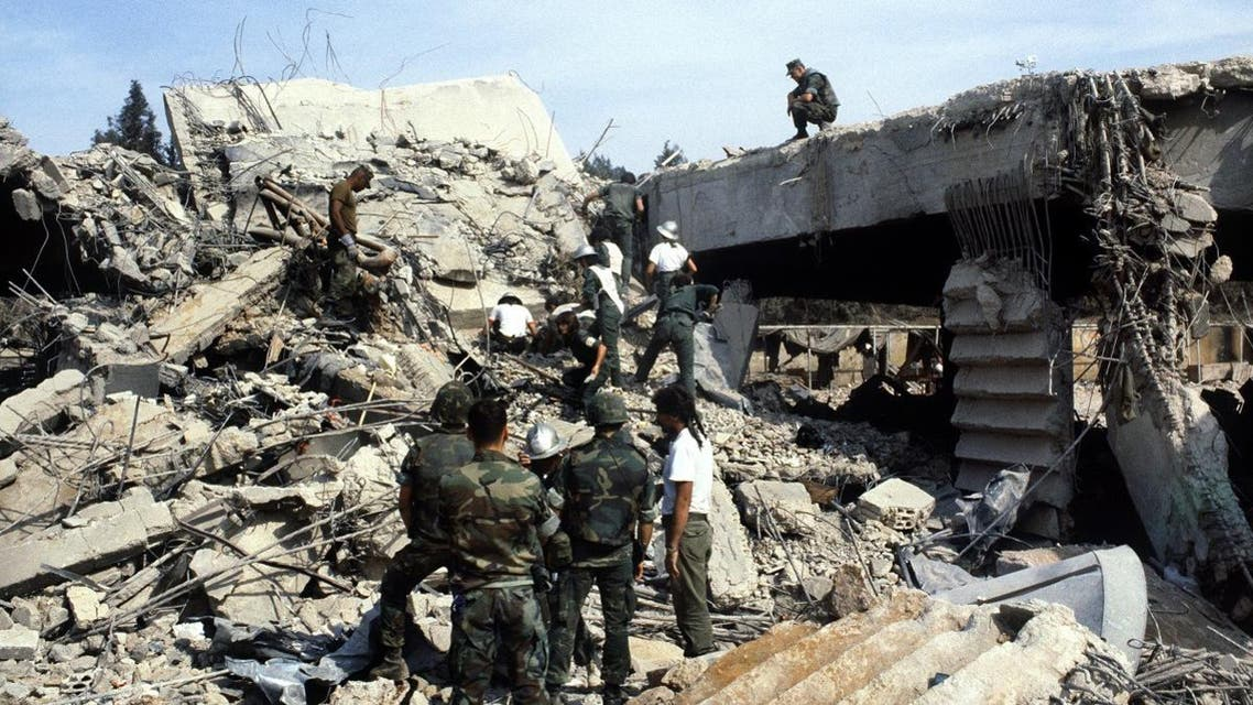 US marines continue to search for victims, on October 31, 1983, after a terrorist attack against the headquarters of the U.S. troops of the multinational force that killed 241 American soldiers on October 23, 1983 in Beirut. (AFP)