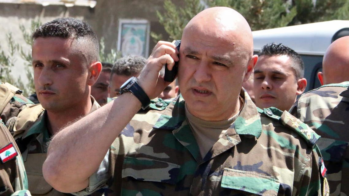 General Joseph Aoun at an operational command post in the eastern town of Ras Baalbek, on August 23, 2017. (AFP)