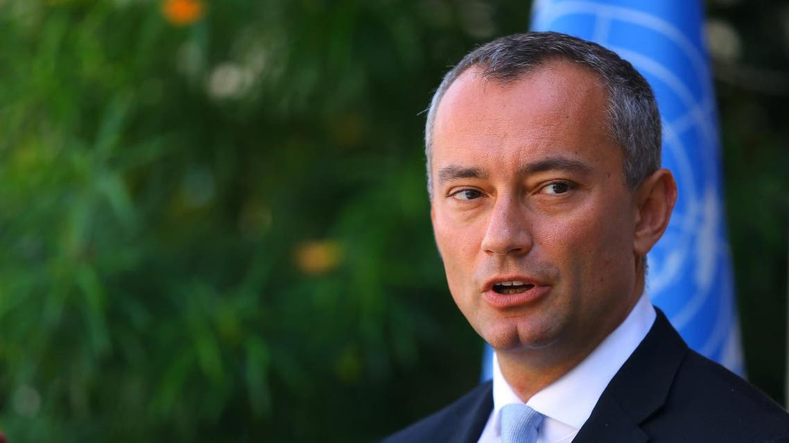 Nikolay Mladenov, United Nations Special Coordinator for the Middle East Peace Process, speaks during a press conference at the UNESCO headquarters in Gaza City on September 25, 2017.  MOHAMMED ABED / AFP