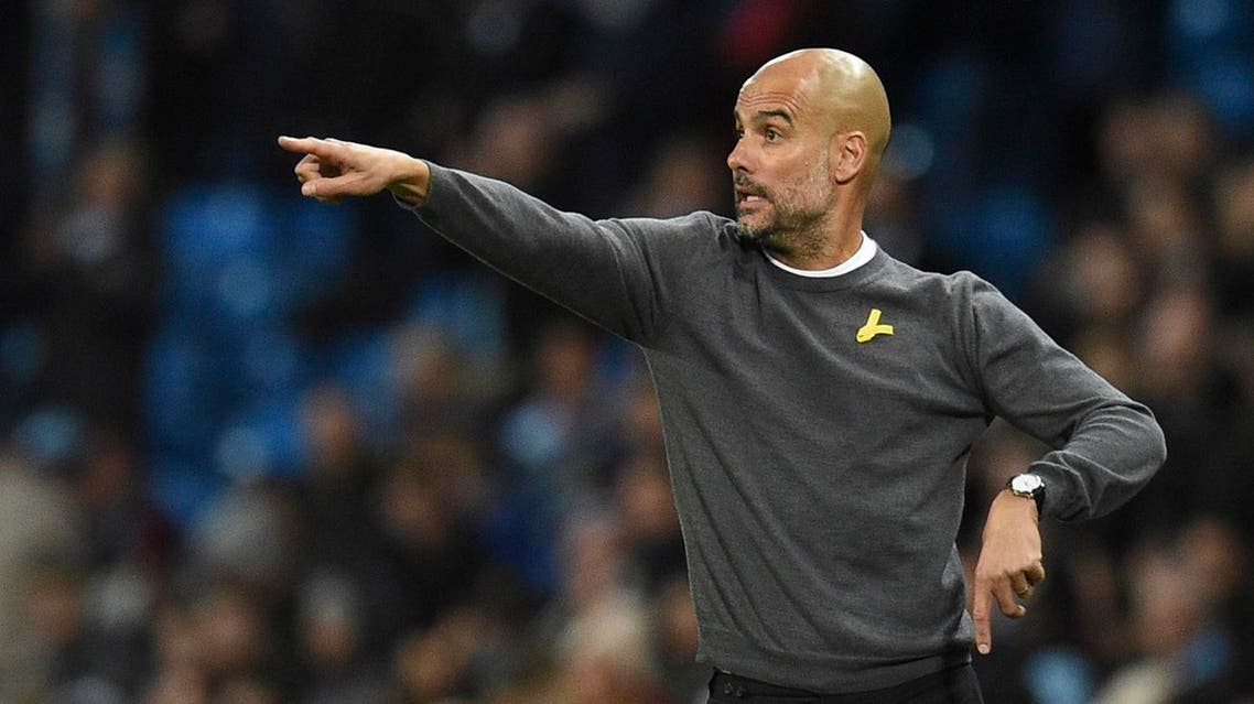 Manchester City's Spanish manager Pep Guardiola reacts on the touchline during the UEFA Champions League Group F football match between Manchester City and Feyenoord at the Etihad Stadium in Manchester, north west England, on November 21, 2017. (AFP)