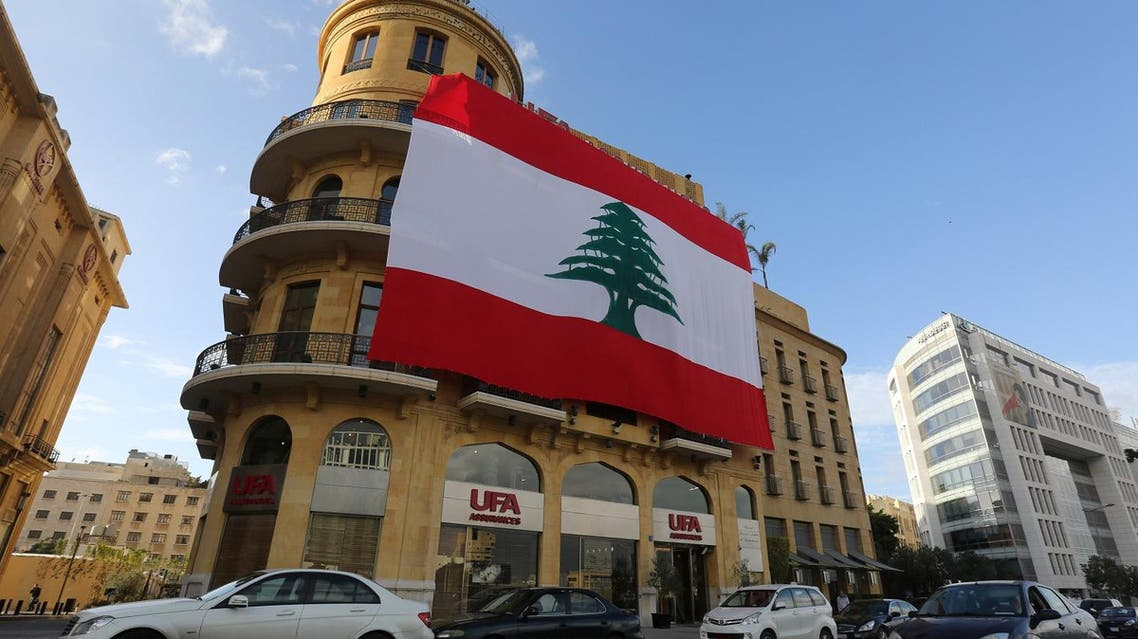 A Lebanese flag hangs from a building in downtown Beirut, Lebanon, November 21, 2017. REUTERS