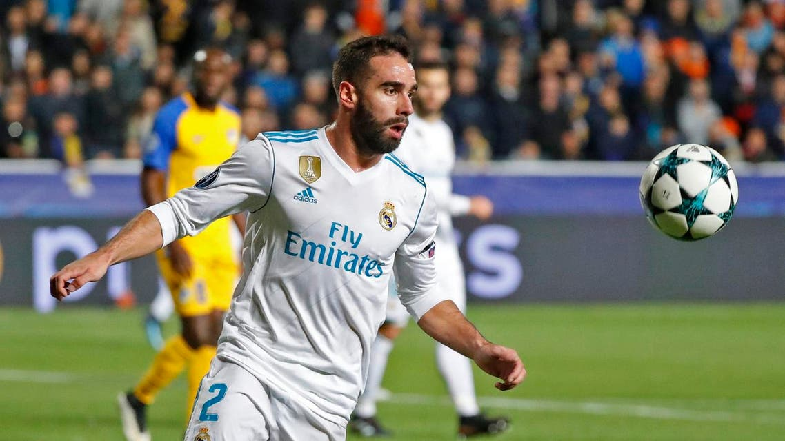 Real Madrid's Spanish defender Dani Carvajal advances with the ball during the UEFA Champions League Group H match between Apoel FC and Real Madrid on November 21, 2017, in the Cypriot capital Nicosia's GSP Stadium. (AFP)