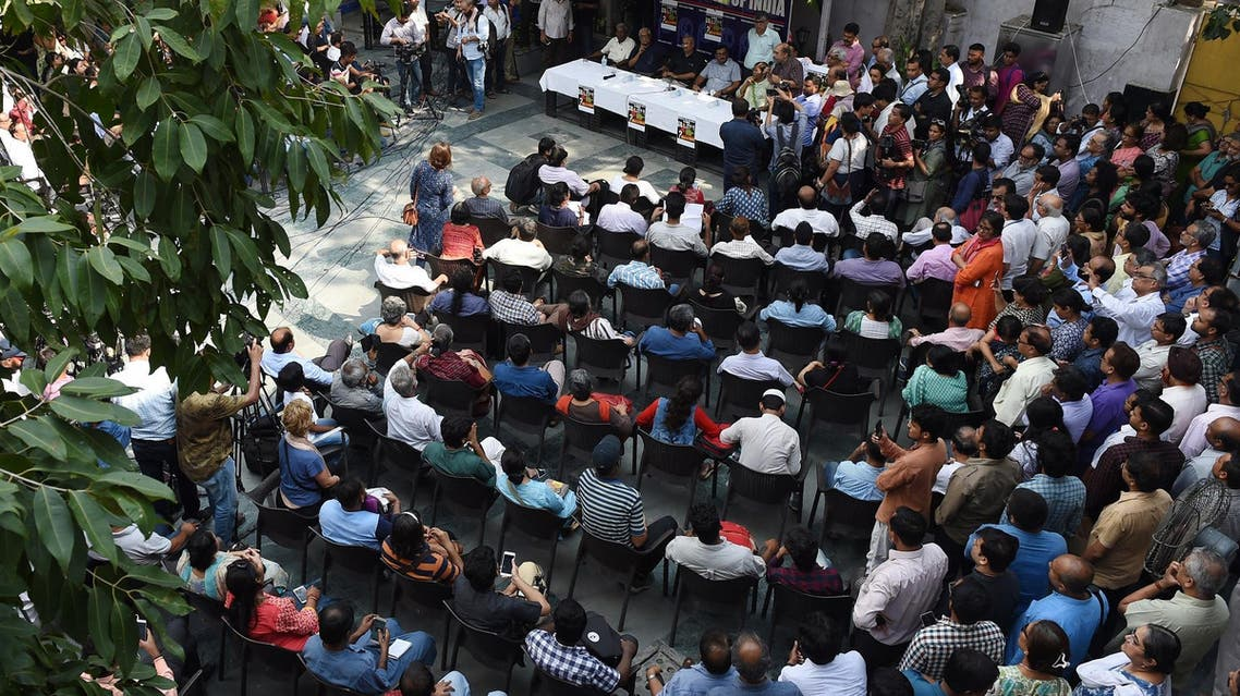 Indian journalists gather during a protest meeting to condemn the killing of journalist Gauri Lankesh in New Delhi on September 6, 2017. (AFP)
