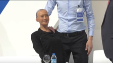 Robot Sophia interacts with Al Arabiya on citizenship and emotions