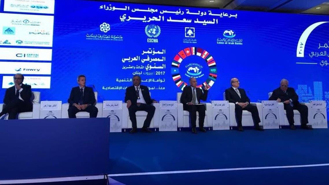 أبو الغيط (الثالث من اليمين) خلال الاجتماع المنعقد في بيروت