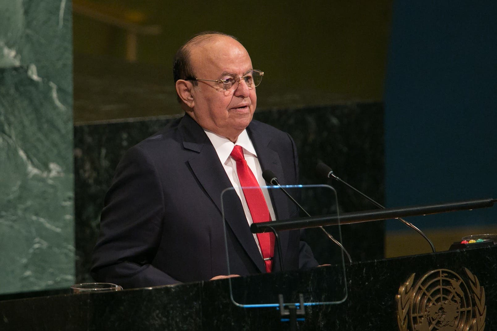 NEW YORK, NY - SEPTEMBER 21: Yemen's President Abdrabuh Mansour Hadi Mansour addresses the U.N. General Assembly at the United Nations on September 21, 2017 in New York City. Topics to be discussed at this year's gathering include Iran, North Korea and global warming. Kevin Hagen/Getty Images/AFP  Kevin Hagen / GETTY IMAGES NORTH AMERICA / AFP