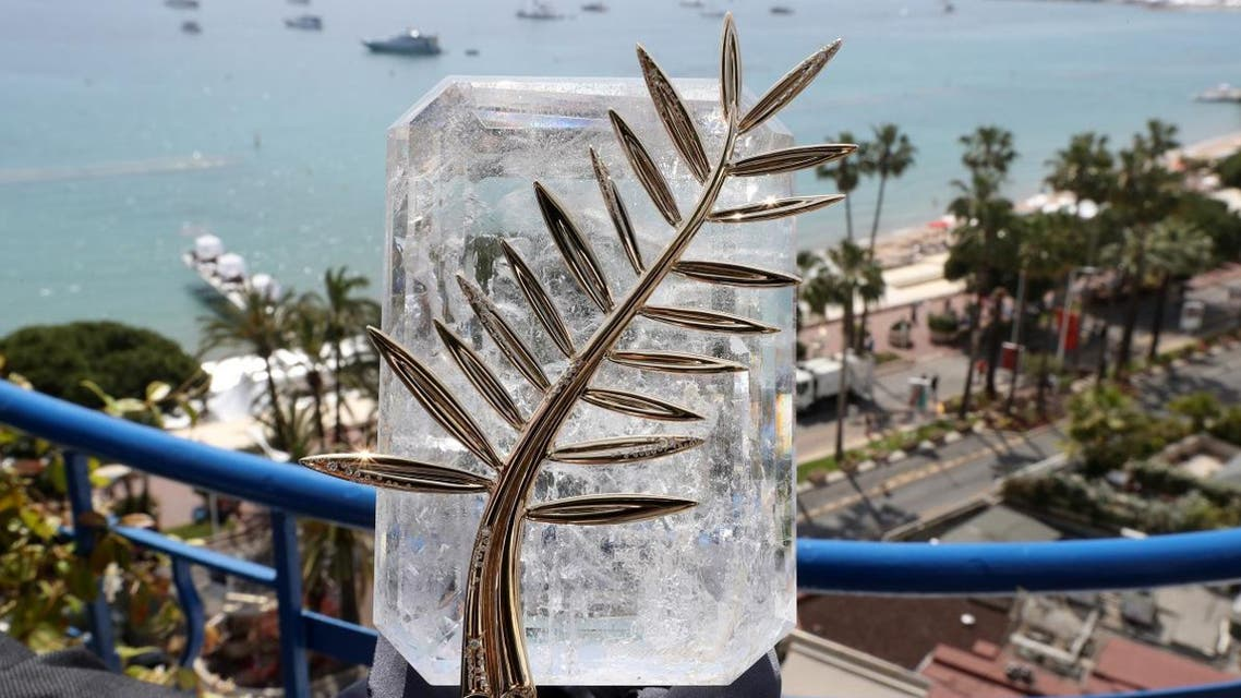 This file photo taken on May 24, 2017 shows the Palme d'Or trophy inlaid with diamonds which celebrates the 70th edition of the Cannes Film Festival at the Grand Hyatt Cannes Hotel Martinez in Cannes, southern France. (AFP)