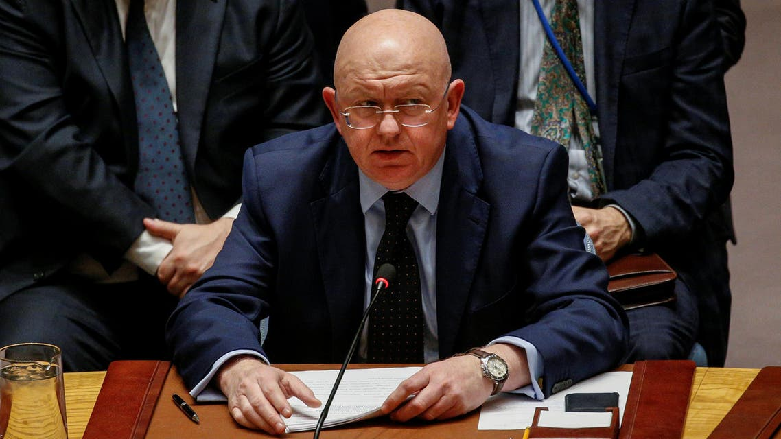 Russian Ambassador to the United Nations Vasily Nebenzya addresses the United Nations Security Council about an international inquiry into chemical weapons attacks in Syria, during a meeting at the United Nations headquarters in New York, U.S., November 17, 2017. REUTERS/Brendan McDermid