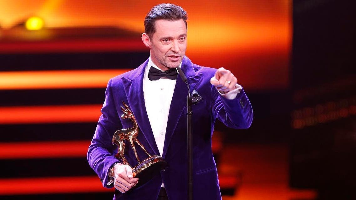 Australian actor Jackman speaks after receiving the Bambi trophy during the Bambi 2017 Awards ceremony in Berlin. (Reuters)