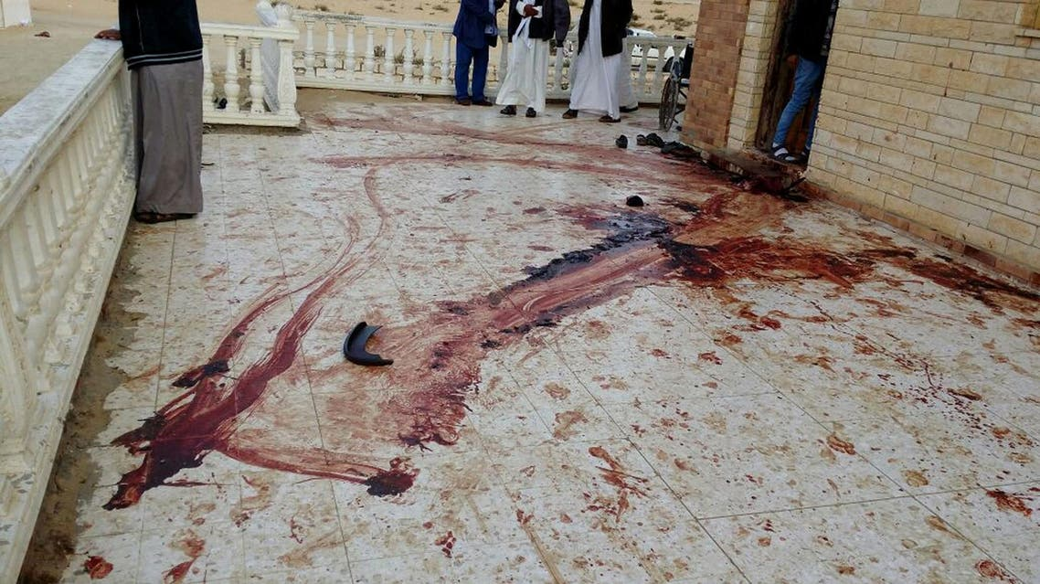 A blood trail on the veranda of Al-Rawda Mosque in Bir al-Abd northern Sinai, Egypt a day after attackers killed hundreds of worshippers, on Saturday, Nov. 25, 2017. (AP)