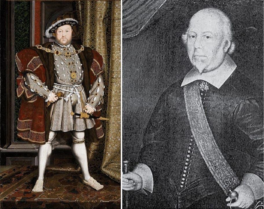 الجد الذبيح جون هاسّي، والى اليسار الملك الآمر بقطع رأسه، هنري الثامن