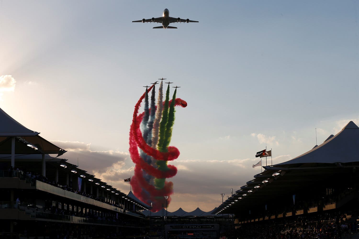 General view as planes fly over the circuit before the race. (Reuters)