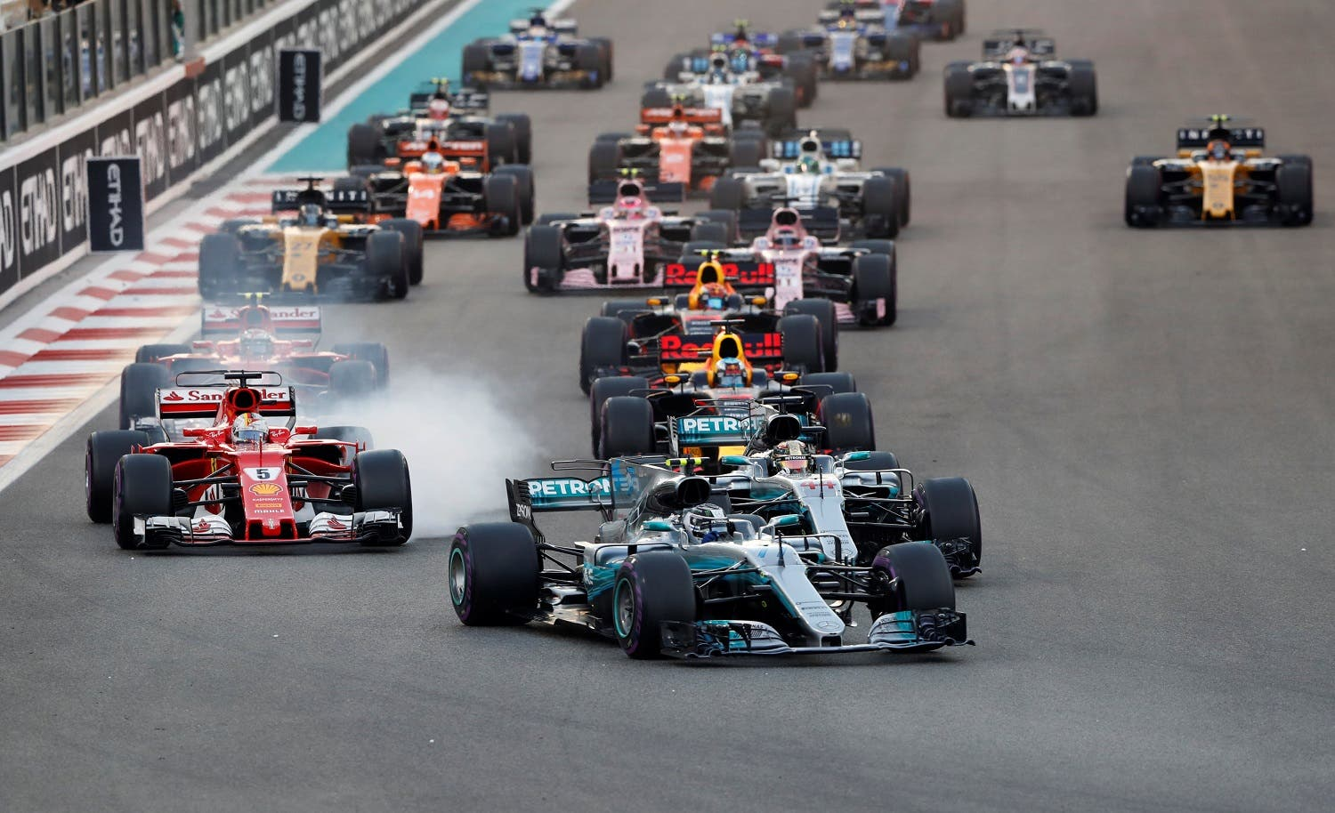 Mercedes' Valtteri Bottas leads during the start of the race during Abu Dhabi Grand Prix at Yas Marina Circuit on November 26, 2017. (Reuters)