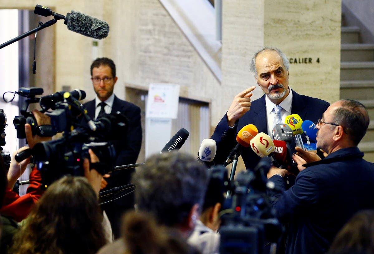 Syrian government negotiator Bashar Ja'afari makes a statement after a meeting during the Intra Syria talks at the United Nations in Geneva, Switzerland May 19, 2017. (Reuters)