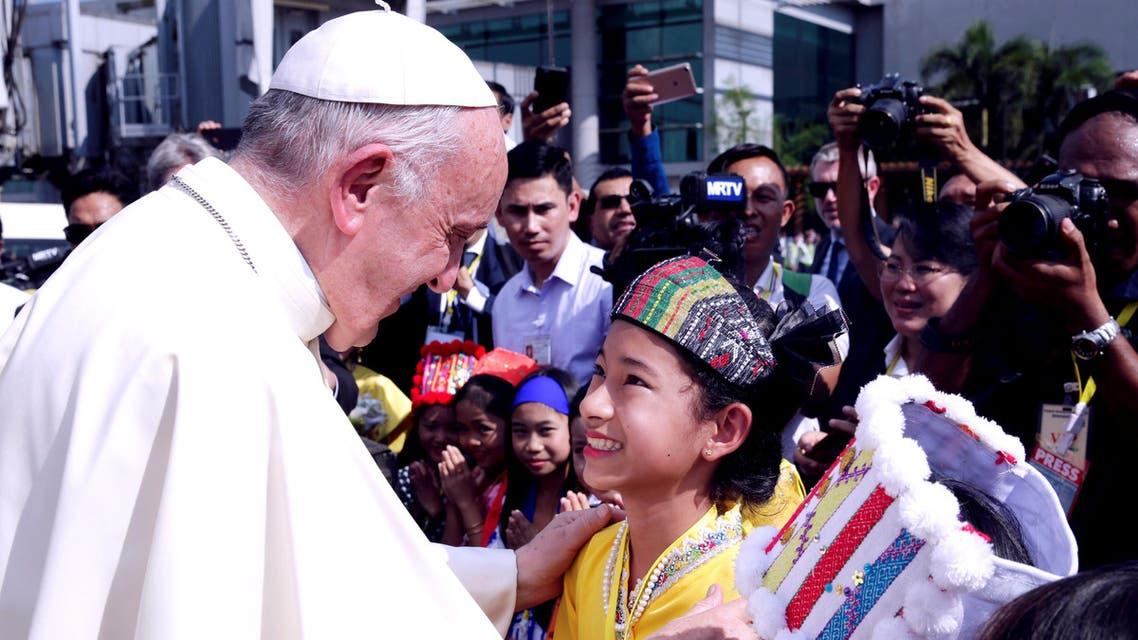 Pope Francis arrives at Yangon International Airport. (Reuters)