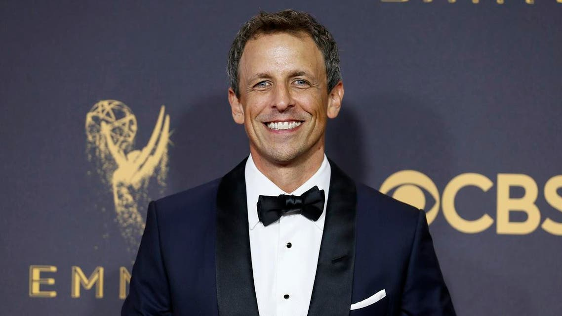 Seth Meyers arrives at the 69th Primetime Emmy Awards on Sunday, Sept. 17, 2017, at the Microsoft Theater in Los Angeles. (Photo by Danny Moloshok/Invision for the Television Academy/AP Images)