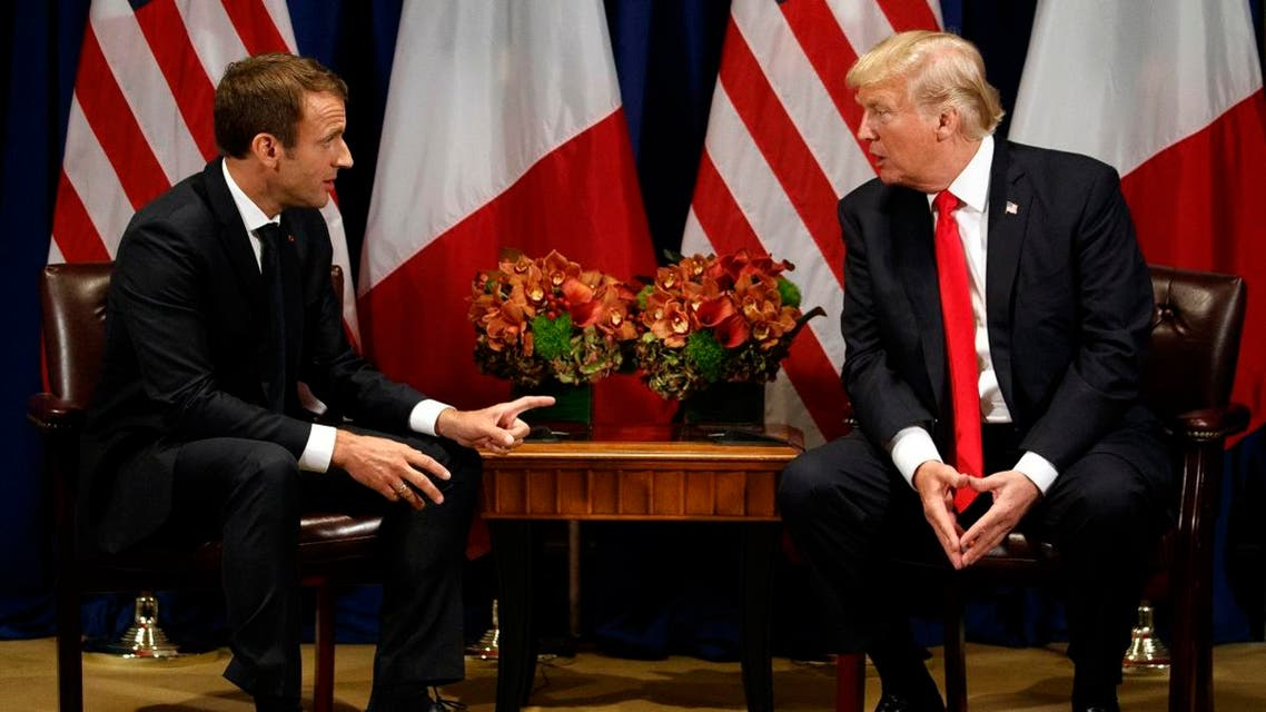 President Donald Trump meets with French President Emmanuel Macron at the Palace Hotel during the United Nations General Assembly, Monday, Sept. 18, 2017, in New York. (AP)