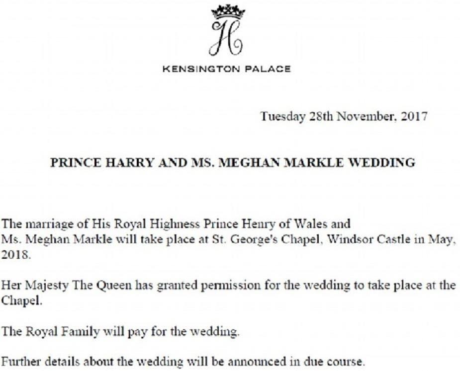 صورة لإعلان من قصر كنسينغتون في لندن، عن تحديد موعد الزواج في مايو المقبل بعد 6 أشهر