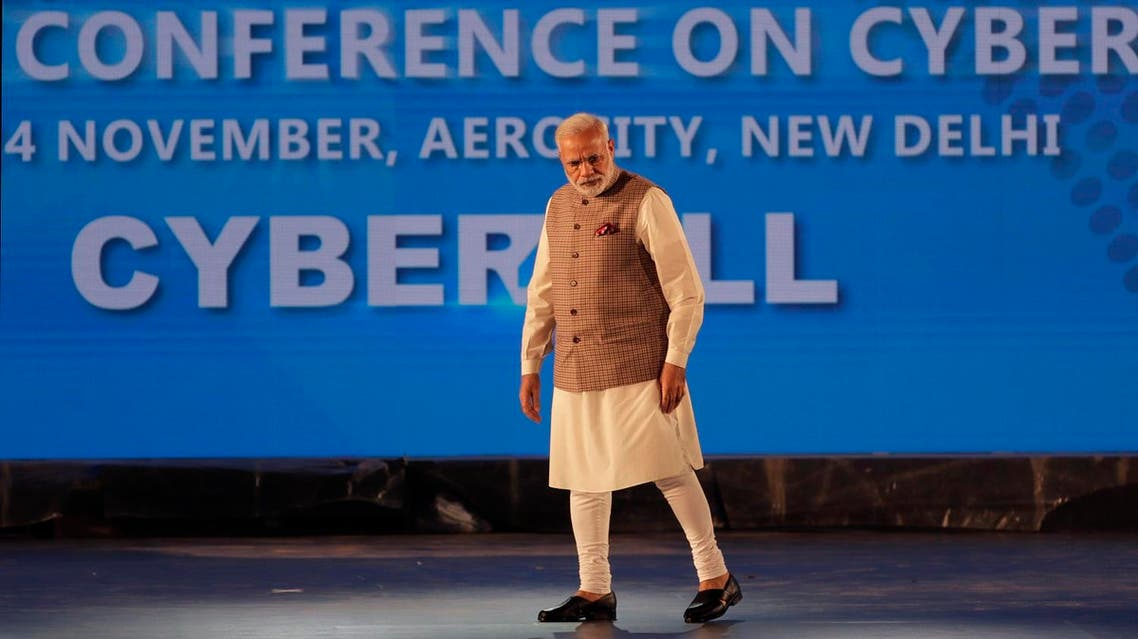 Indian Prime Minister Narendra Modi arrives to inaugurate Global Conference on Cyber Space (GCCS) in New Delhi on Nov. 23, 2017 (AP)