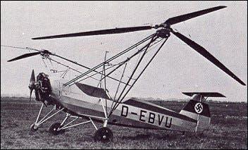 أول هليكوبتر فعلية في التاريخ Focke Wulf Fw 61 تم تصنيعها عام 1936