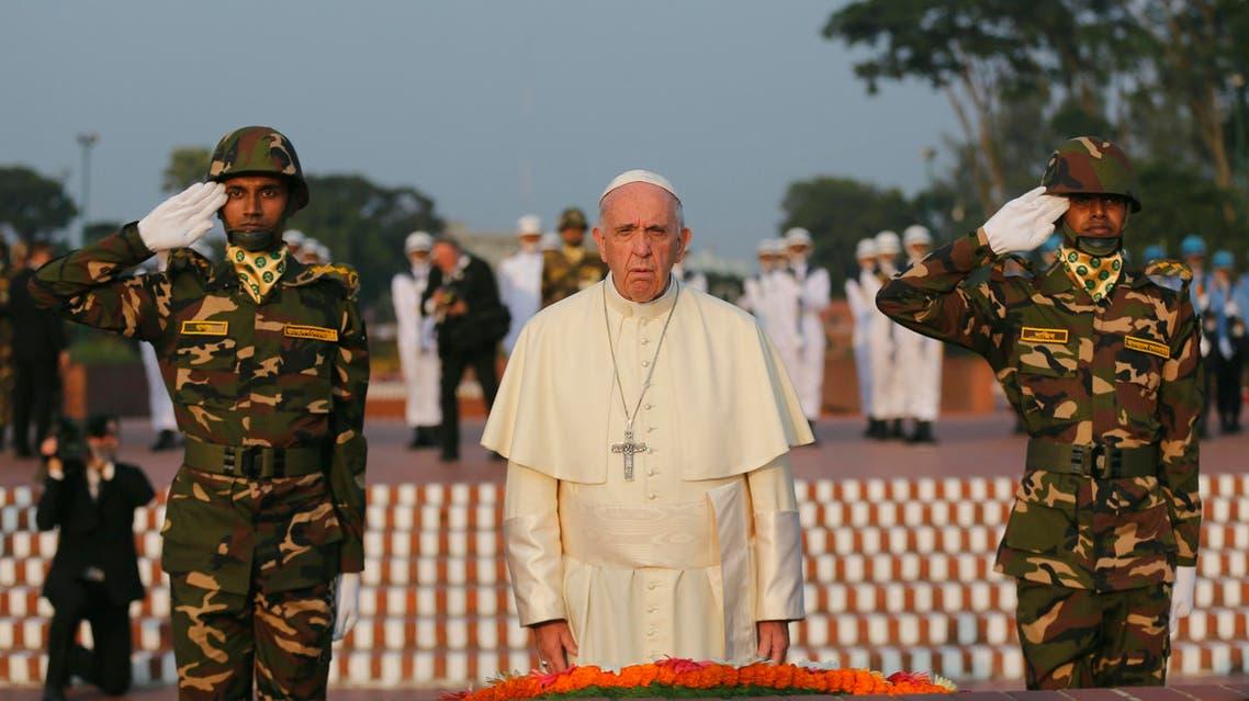 Pope Francis visits the National Martyrs' Memorial of Bangladesh in Savar, outskirts of Dhaka, Bangladesh, Thursday, Nov. 30, 2017. (AP)