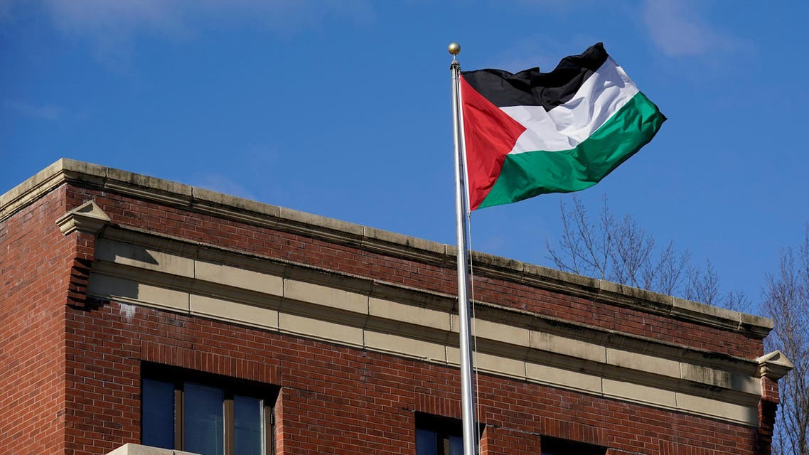 Palestinian flag waves at the PLO office in Washington on November 19, 2017. (Reuters)
