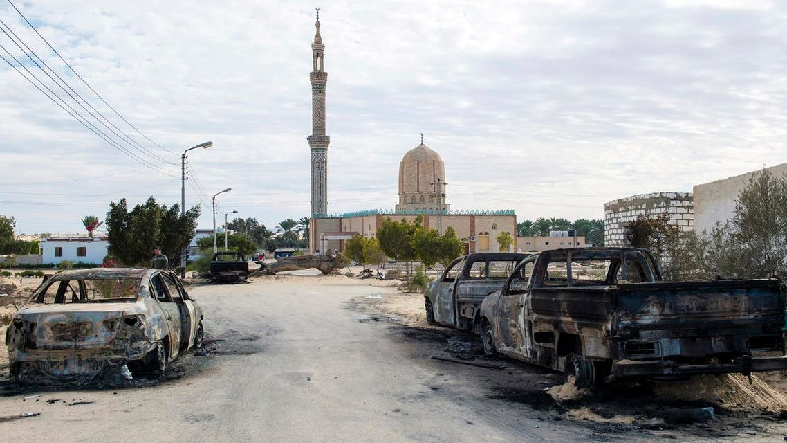 A picture taken on November 25, 2017, shows the Rawda mosque, roughly 40 kilometers west of the North Sinai capital of El-Arish, after a gun and bombing attack. (AFP)