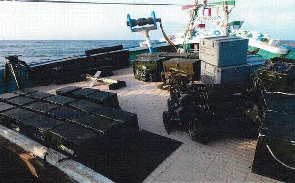 In this image posted on SPA on Sept. 30, 2015, confiscated weapons are seen aboard an Iranian fishing boat bound for Yemen. (Saudi Press Agency via AP)