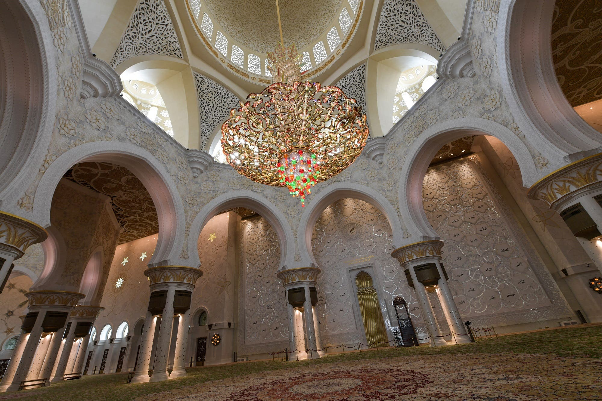 A picture taken on November 17, 2017 shows a view of the interior of the Sheikh Zayed Grand Mosque in the UAE capital Abu Dhabi. (AFP)