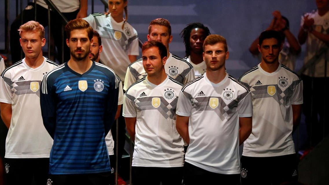 Germany's national team unveil their new jerseys, ahead of the upcoming international friendly matches against England and France, in Berlin, Germany, November 7, 2017. (Reuters)