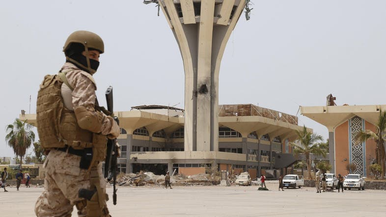 A soldier who is part of the Arab-led coalition stands guard at the international airport of Yemen's southern port city of Aden July 24, 2015. (File photo: Reuters)