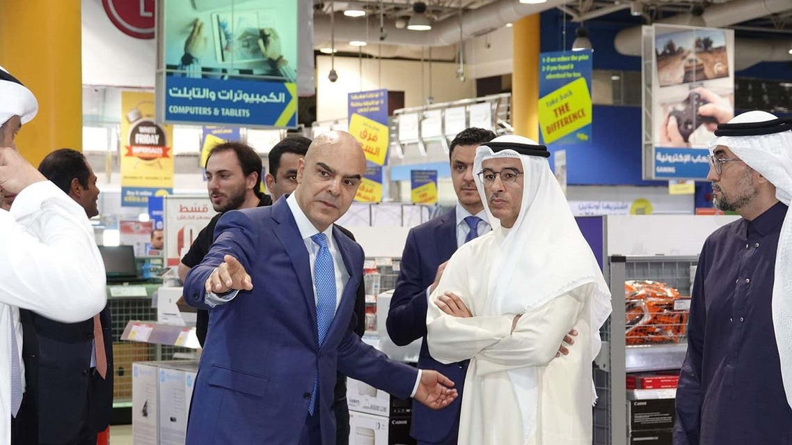 Mohamed Alabbar, Founder of Noon and Mohamed Galal, CEO of eXtra pictured during a tour of the  eXtra store in Al Khobar. (Supplied)