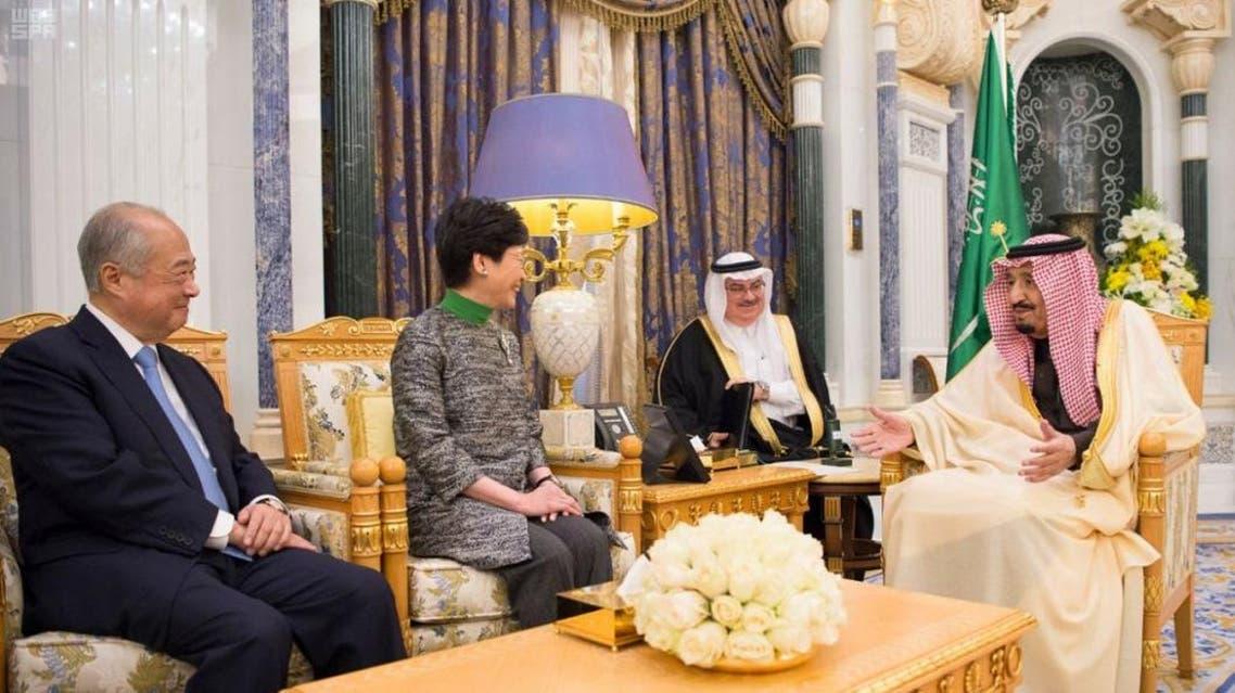 خادم الحرمين الشريفين يستقبل الرئيسة التنفيذية لحكومة هونج كونج