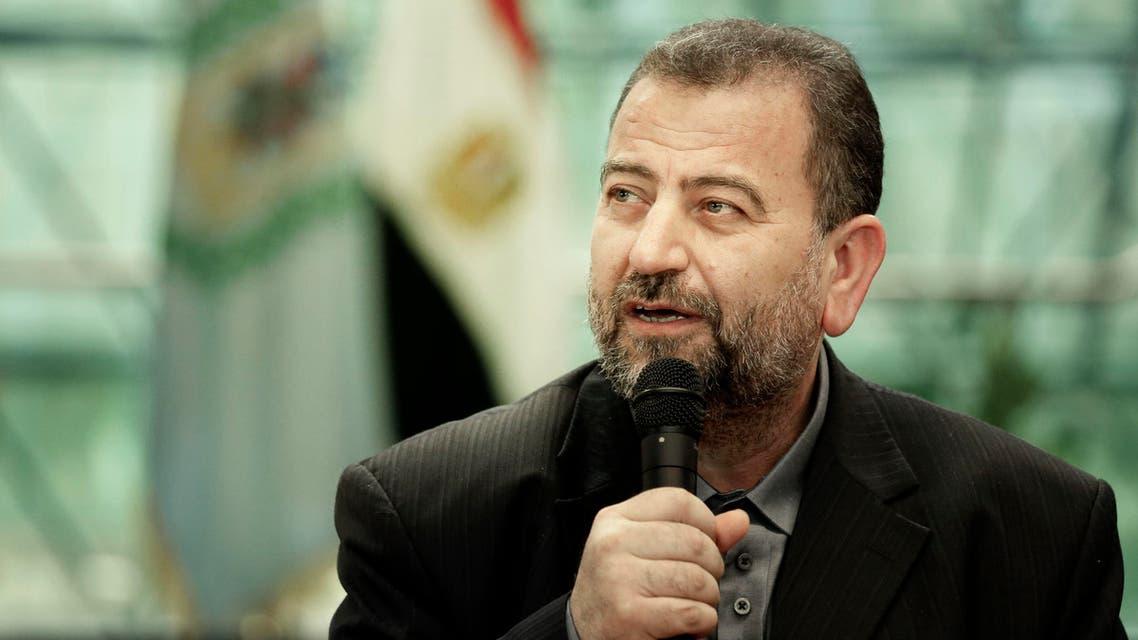 القيادي في حماس صالح العاروري متحدثاً من القاهرة عقب توقيع اتفاق المصالحة