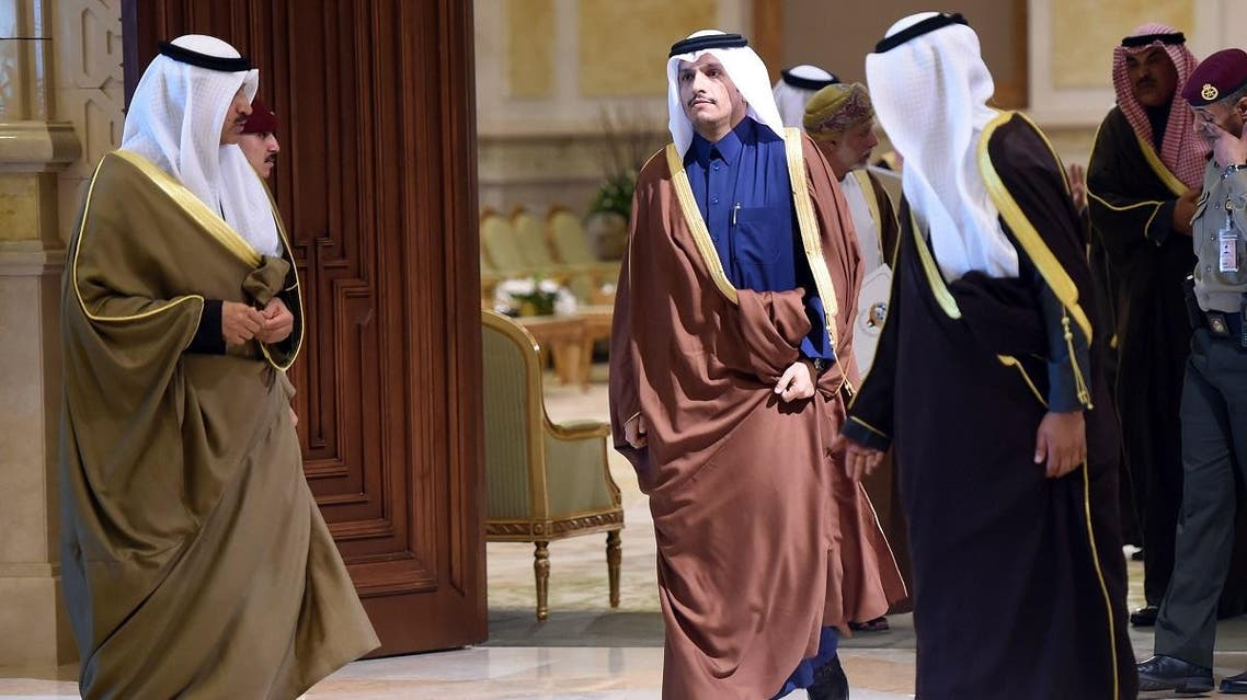 Qatar's foreign minister Sheikh Mohammed bin Abdulrahman al-Than arrives to attend a meeting of foreign ministers of the Gulf Cooperation Council (GCC) in Bayan Palace, in Kuwait City. (Reuters)