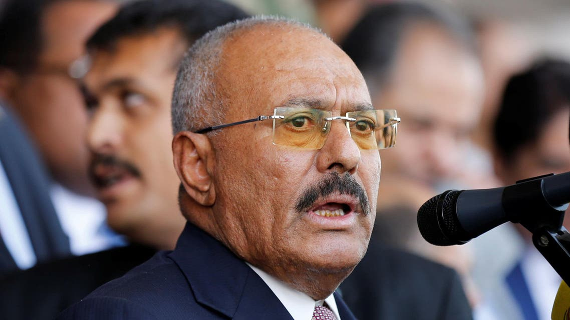 Ali Abdullah Saleh addresses a rally held to mark the 35th anniversary of the establishment of his General People's Congress party in Sanaa on August 24, 2017. (Reuters)