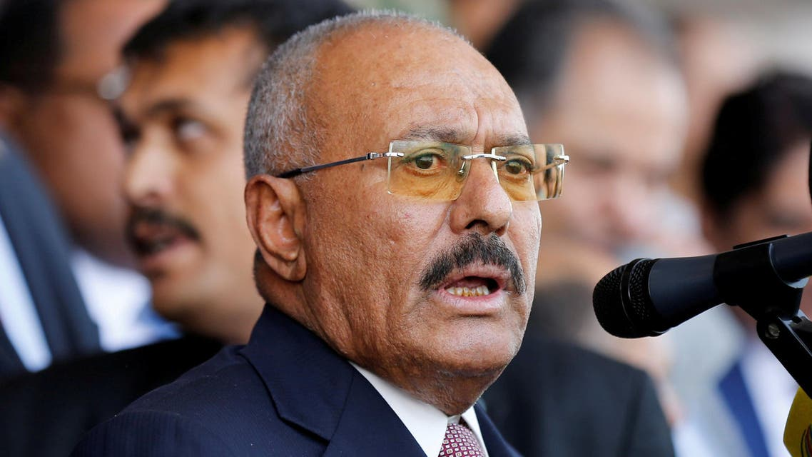 FILE PHOTO: Yemen's former President Ali Abdullah Saleh addresses a rally held to mark the 35th anniversary of the establishment of his General People's Congress party in Sanaa, Yemen August 24, 2017. Picture taken August 24, 2017. REUTERS/Khaled Abdullah/File Photo