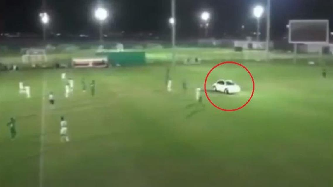 The unidentified man drove around the players who tried to keep out of his way out of fear he'd run them over and then left.
