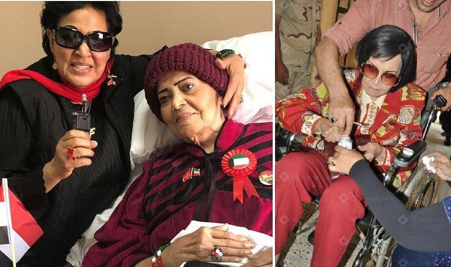 الصورة الى اليسار نشرتها العربية.نت في مارس الماضي للاعلامية الكويتية عائشة اليحيى تزورها بالمستشفى