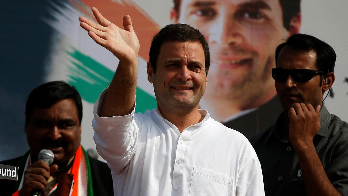 Rahul Gandhi waves to supporters during a rally ahead of Gujarat state assembly elections, on the outskirts of Ahmedabad, on November 11, 2017. (Reuters)