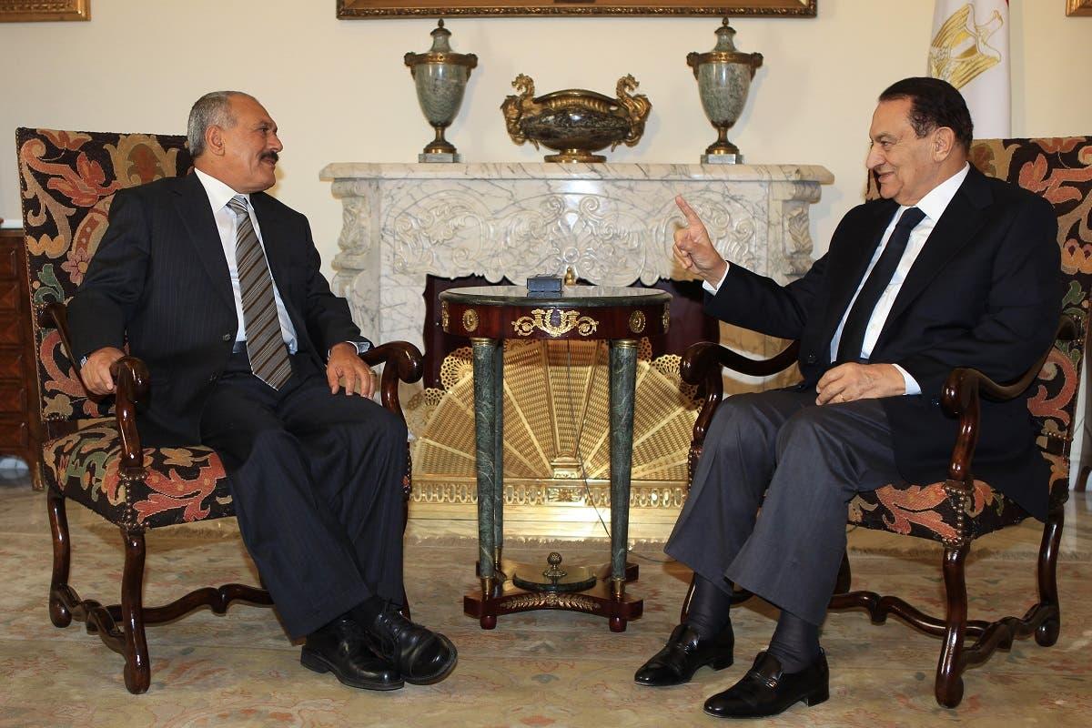 علی عبدالله صالح به همراه محمد حسنی مبارک رئیس جمهوری اسبق مصر