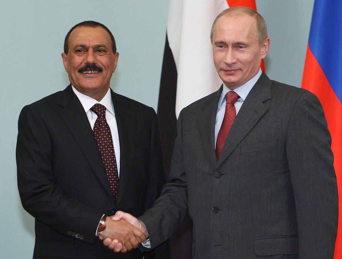 علی عبدالله صالح به همراه ولادیمیر پوتین رئیس جمهوری روسیه