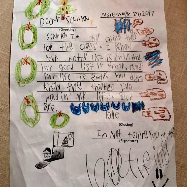 أغرب رسالة من طفل إلى بابا نويل..