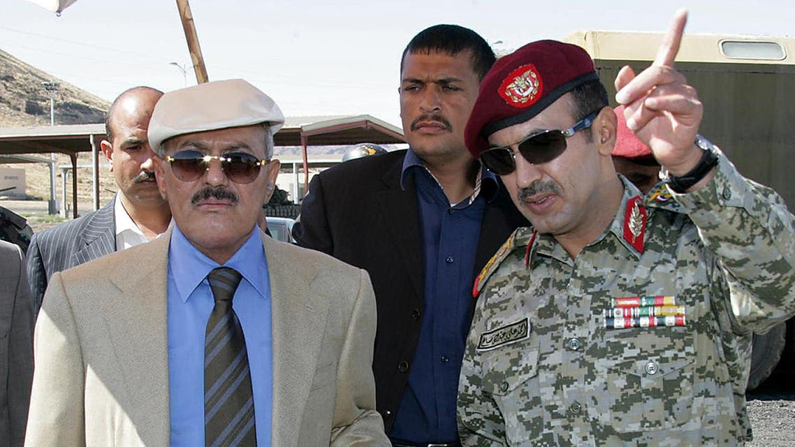 Yemeni Colonel Ahmed Saleh, commander of the elite Republican Guards, arrives to attend a mass wedding ceremony for members of his force in Sanaa on January 1, 2012. Saleh, the eldest son of outgoing Yemeni president Ali Abdullah Saleh, organised the mass wedding for 320 of his men. AFP PHOTO/MOHAMMED HUWAIS MOHAMMED HUWAIS / AFP