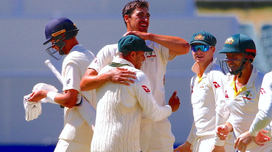 Australia's Mitchell Starc celebrates with team mates after dismissing England's Stuart Broad during the fifth day of the second Ashes cricket test match at Adelaide on December 6, 2017. (Reuters)