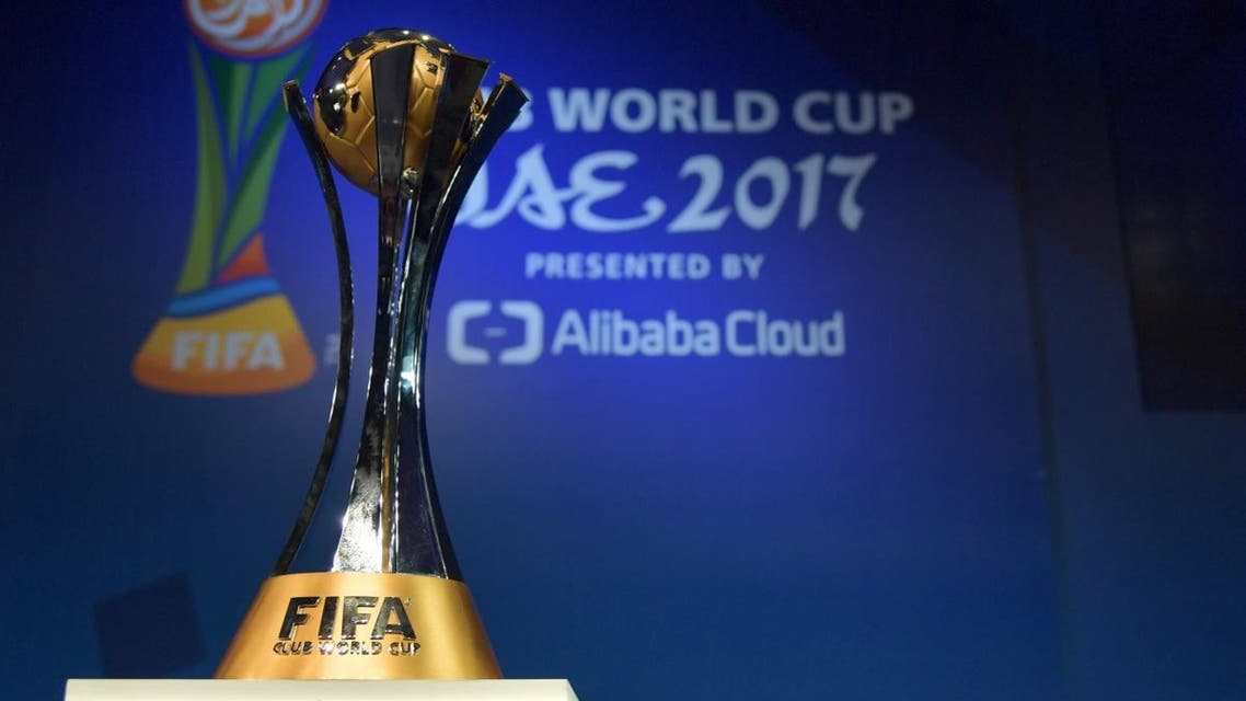 The official trophy is seen on display during the official draw of the FIFA Club World Cup UAE 2017 football tournament in Abu Dhabi on October 9, 2017. (AFP)